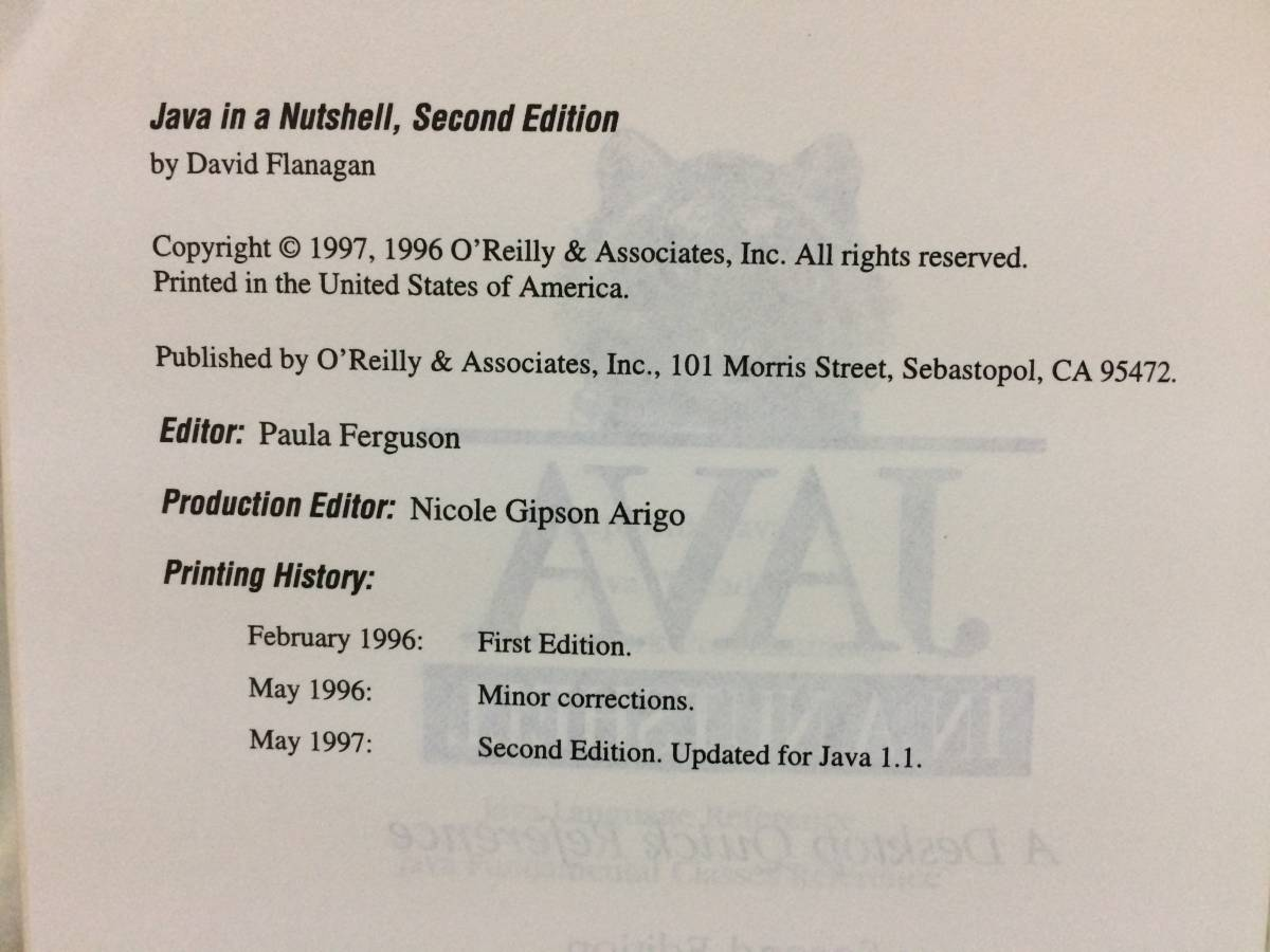 David Flanagan「Java in a Nutshell, a desktop quick reference (O'Reilly)」(オライリー社、1997年、洋書)_画像5