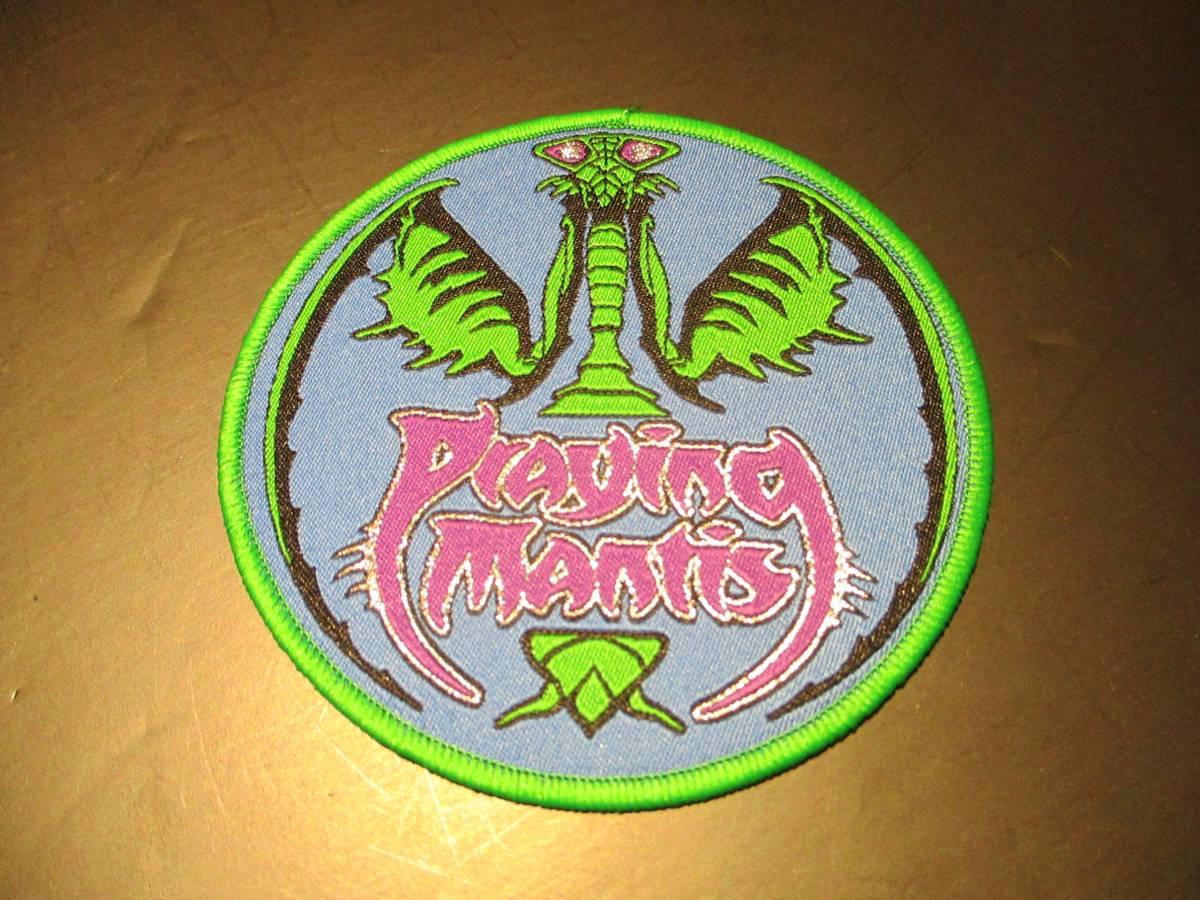PRAYING MANTIS 丸形 刺繍パッチ ワッペン 緑枠 / iron maiden metallica saxon angel witch bushful alley demon pact