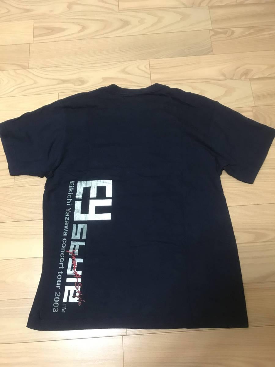 入手困難品 矢沢永吉 Eikichi Yazawa ツアー 両面プリント Tシャツ Tour Tee 2003 メンズ 男性 サイズ L相当 紺色 EY YAZAWA Style