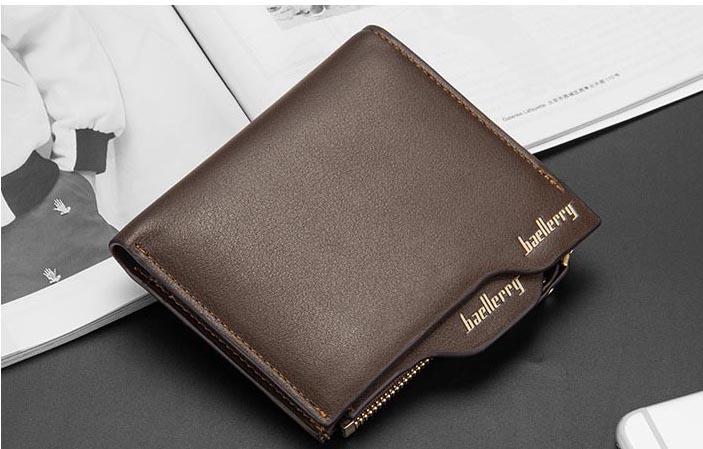 財布 二つ折り財布 コンパクト メンズ お札入れ 小銭入れ カードケース フォトフレーム付き ウォレット 茶色 ブラウン