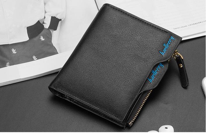財布 二つ折り財布 コンパクト メンズ お札入れ 小銭入れ カードケース フォトフレーム付き ウォレット 黒色 ブラック_画像1