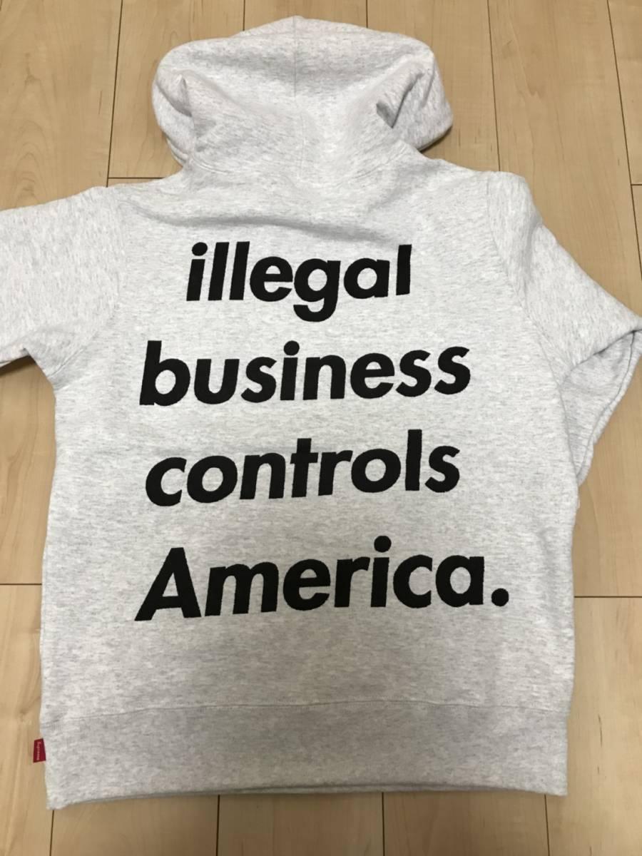 新品 国内正規品 半タグ付 S SUPREME Illegal Business Hooded Sweatshirt パーカー グレー 18ss box skull faux fur bomber イリーガル