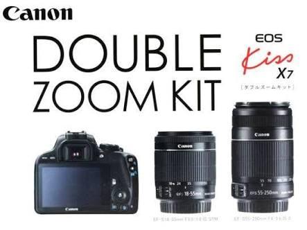 新品 Canon EOS Kiss X7 ダブルズームキット EF-S18-55mm/EF-S55-250mm付属