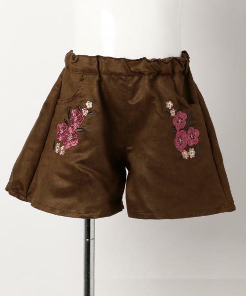 新品 ¥3229 組曲 anyFAM 150cm フェイク スウェード スカート風 ショートパンツ 子供用 女の子 ブラウン 茶色 キュロットパンツ_画像2