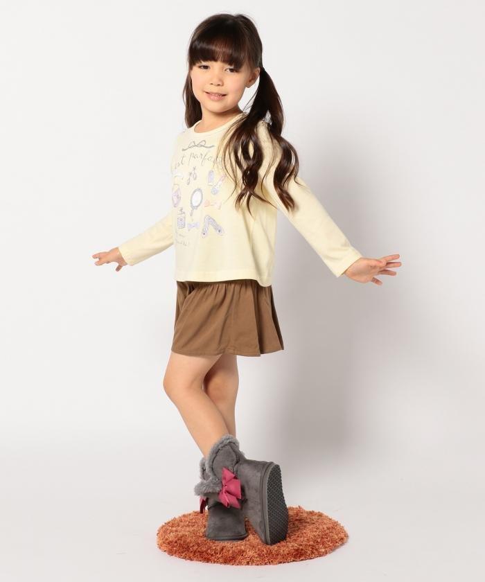 新品 ¥3229 組曲 anyFAM 110cm スカート風 ショートパンツ キュロットスカート 子供用 女の子 ブラウン 茶色 キュロットパンツ 双子 ペア_参考画像
