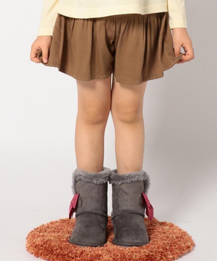 新品 ¥3229 組曲 anyFAM 110cm スカート風 ショートパンツ キュロットスカート 子供用 女の子 ブラウン 茶色 キュロットパンツ 双子 ペア_画像2