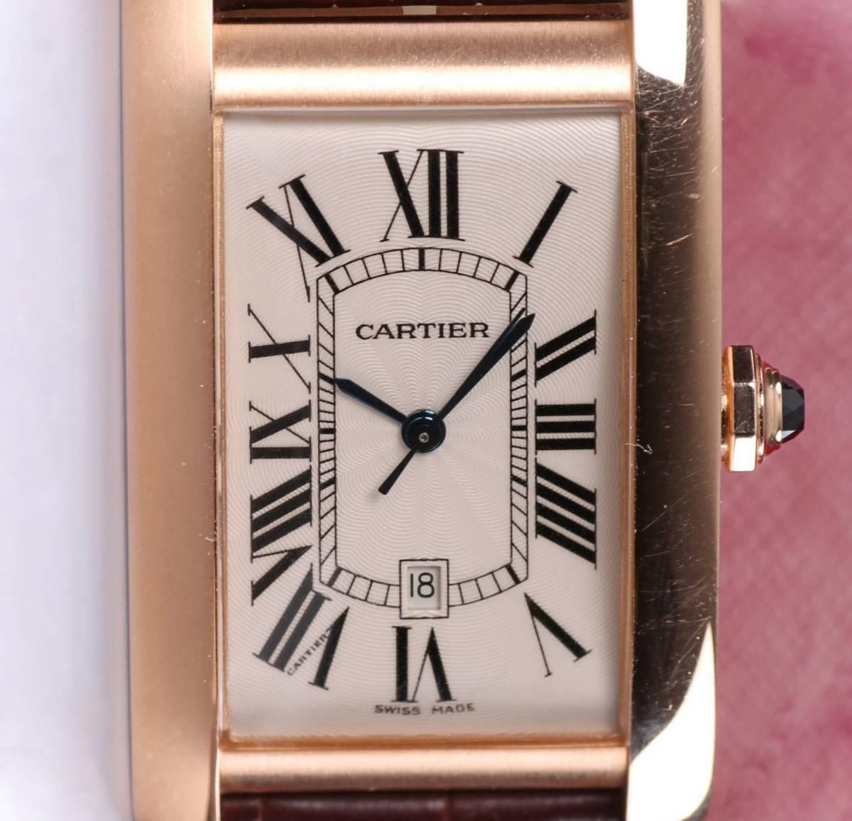 本物 カルティエ Cartier タンクアメリカン クロノグラフ LM ピンクゴールド W2609156 自動巻き メンズ 時計 中古美品