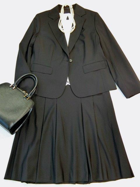 ■バーバリー大きいサイズ48イタリア製ウールロングスカートスーツ黒23区■