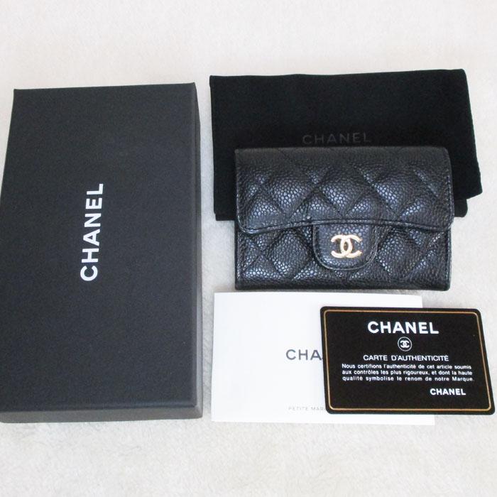 CHANEL シャネル マトラッセ キャビアスキン コインケース A80799 小銭入れ カードケース ブラック 未使用美品_写真10