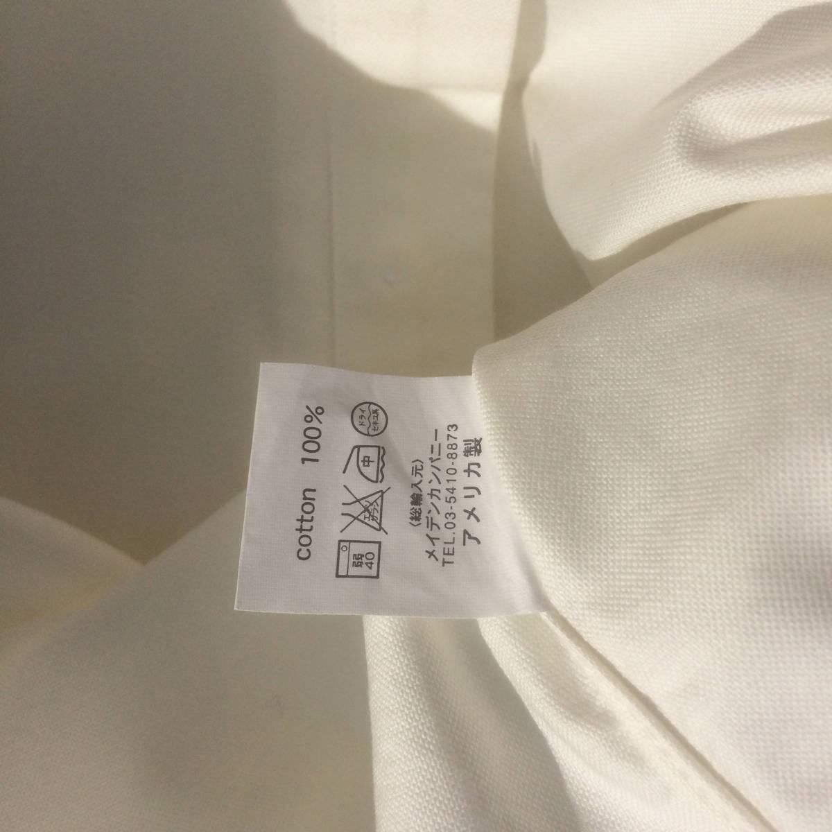 INDIVIDUALIZED SHIRTS インディビジュアライズドシャツ ダンリバー オックスフォード BD 白 ホワイト 長袖 シャツ xxs 13.5 usa製_画像7