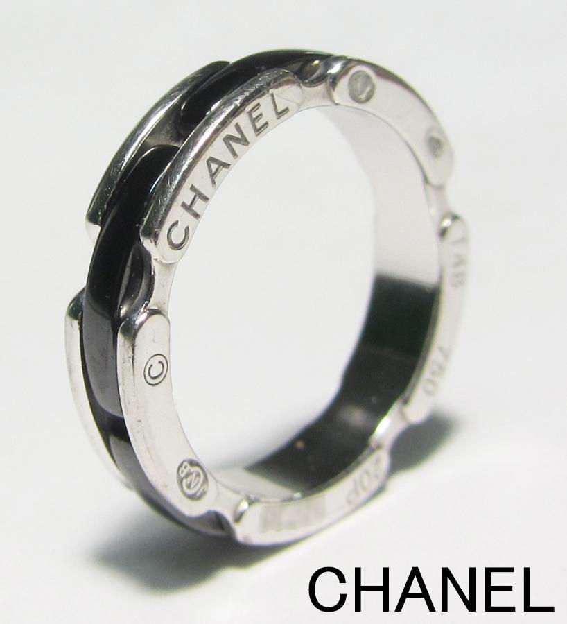 1円スタート♪ 正規品 本物 CHANEL シャネル ウルトラリング ブラックセラミック K18WG ホワイトゴールド リング 指輪 サイズT48(約8号)