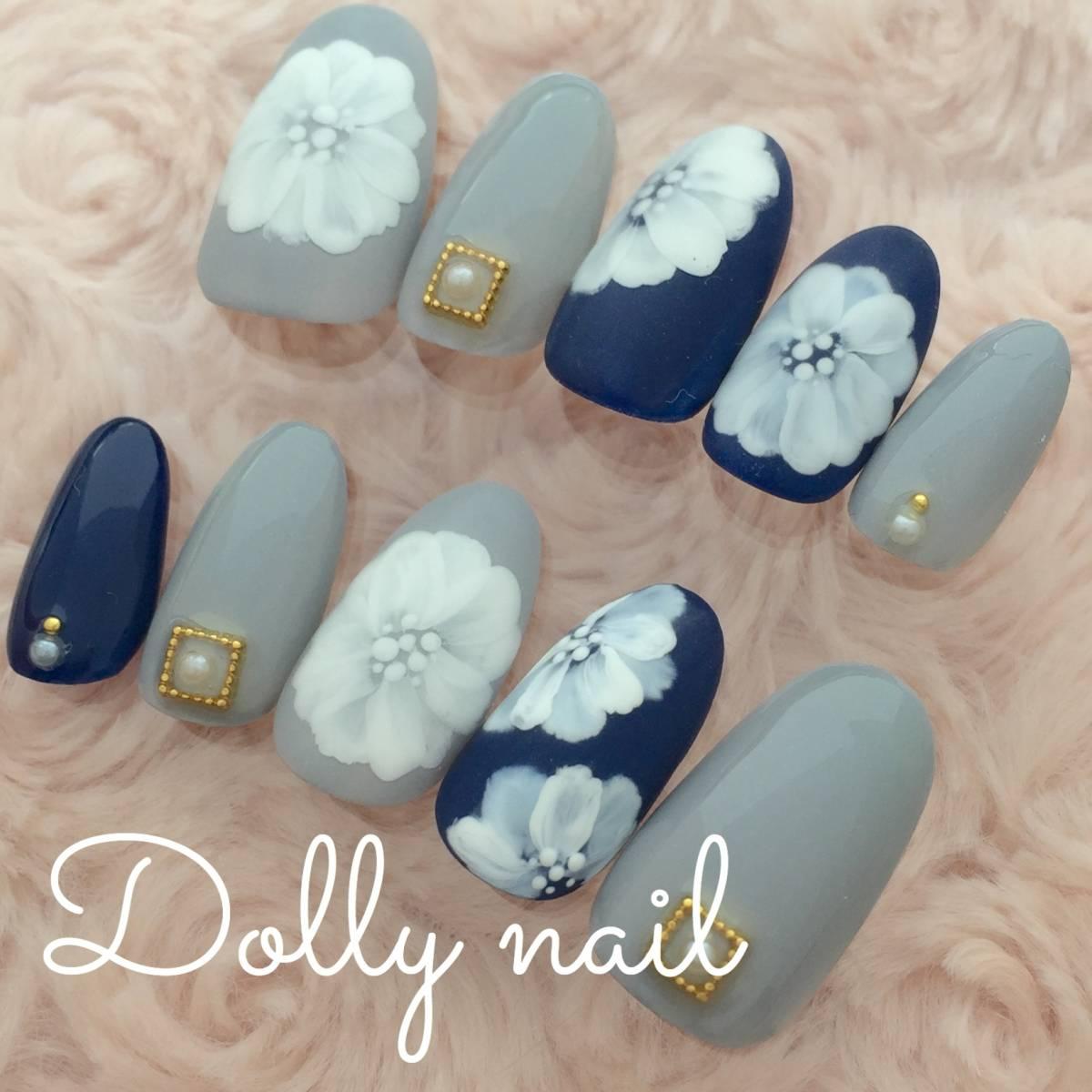 Dn Short Oval Large Wheel Flower Navy Blue Color Grey Gray Nail Display Chart Polish Nails
