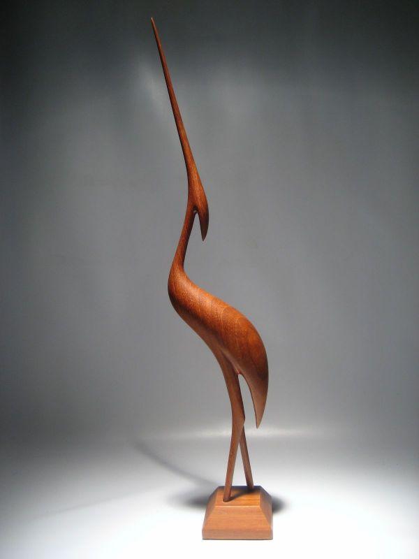 ドイツ 1950~60年代 ミッドセンチュリー期 チーク製 鳥のオブジェ 40cmH ヘロンバード ウェグナー 北欧系