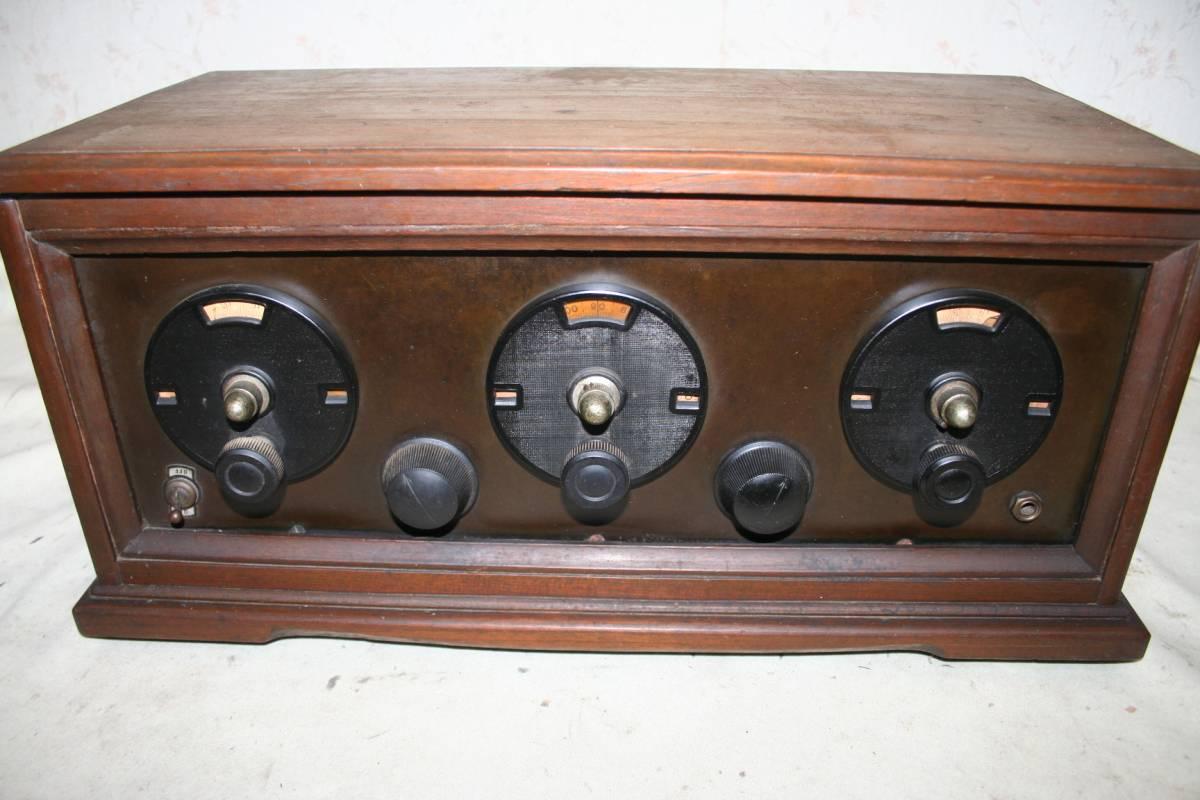 木製ケースのラジオ?無線機?ジャンク品
