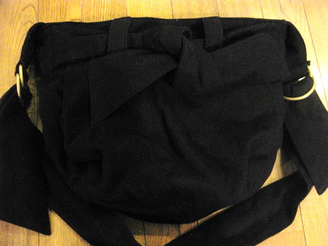 名作 本物 Vivienne Westwood ヴィヴィアンウエストウッド ウール素材 リボン ショルダーバッグ 鞄 ブラック_画像10