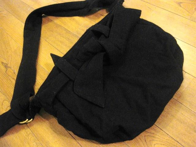名作 本物 Vivienne Westwood ヴィヴィアンウエストウッド ウール素材 リボン ショルダーバッグ 鞄 ブラック_画像3