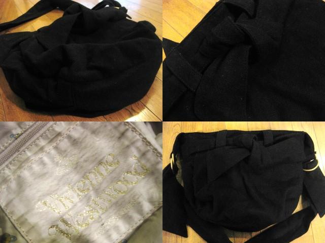 名作 本物 Vivienne Westwood ヴィヴィアンウエストウッド ウール素材 リボン ショルダーバッグ 鞄 ブラック_画像2