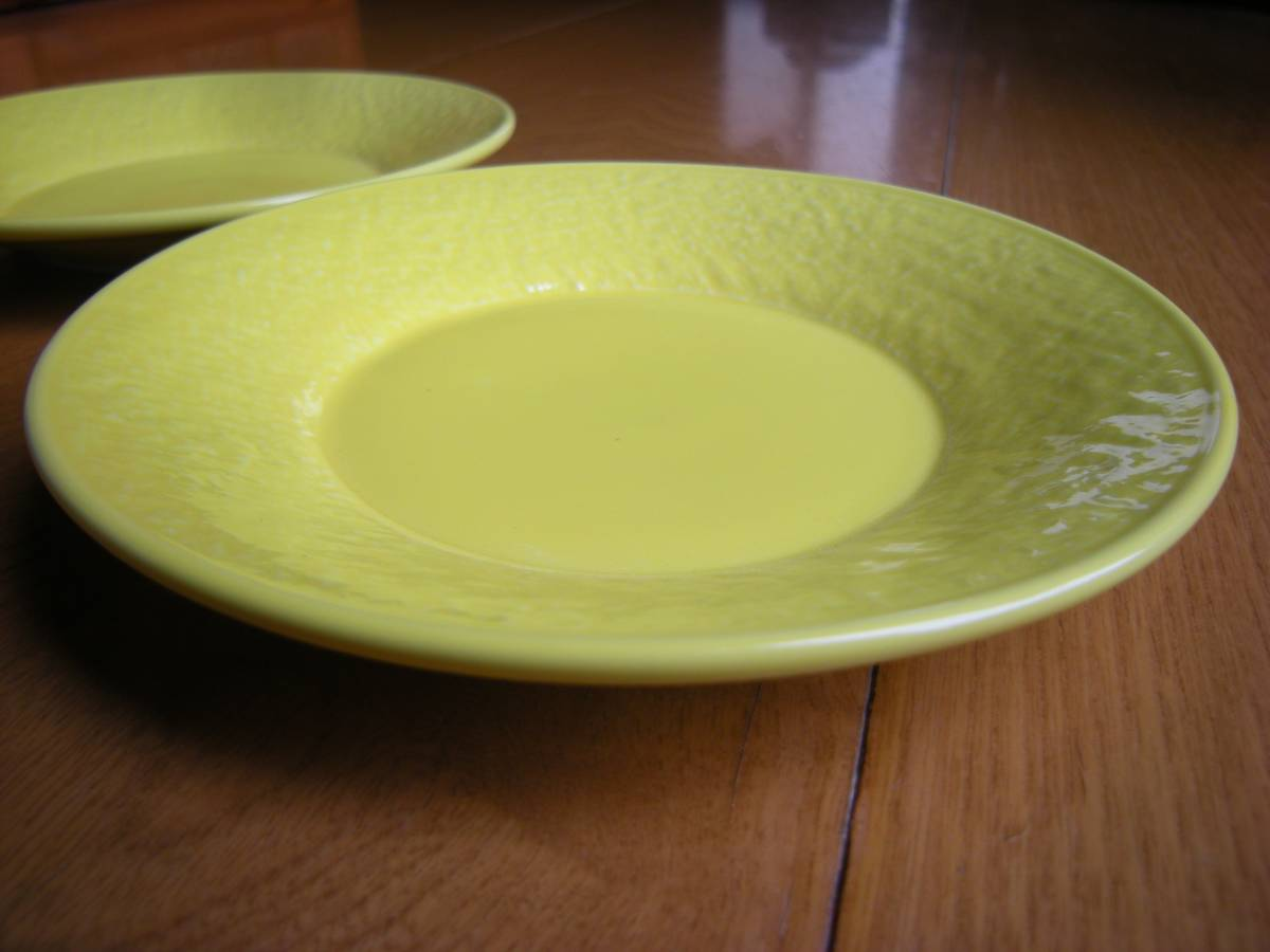 麦☆瀬戸焼☆新品☆ 強化磁器 石目 レモン 黄色 5寸 丸皿(15㎝)5枚セット まとめて *お値打ち*お勧め*逸品*  _5枚セット