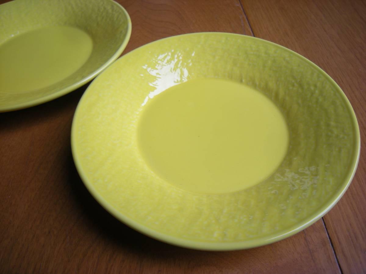 麦☆瀬戸焼☆新品☆ 強化磁器 石目 レモン 黄色 5寸 丸皿(15㎝)5枚セット まとめて *お値打ち*お勧め*逸品*  _5枚セットです。