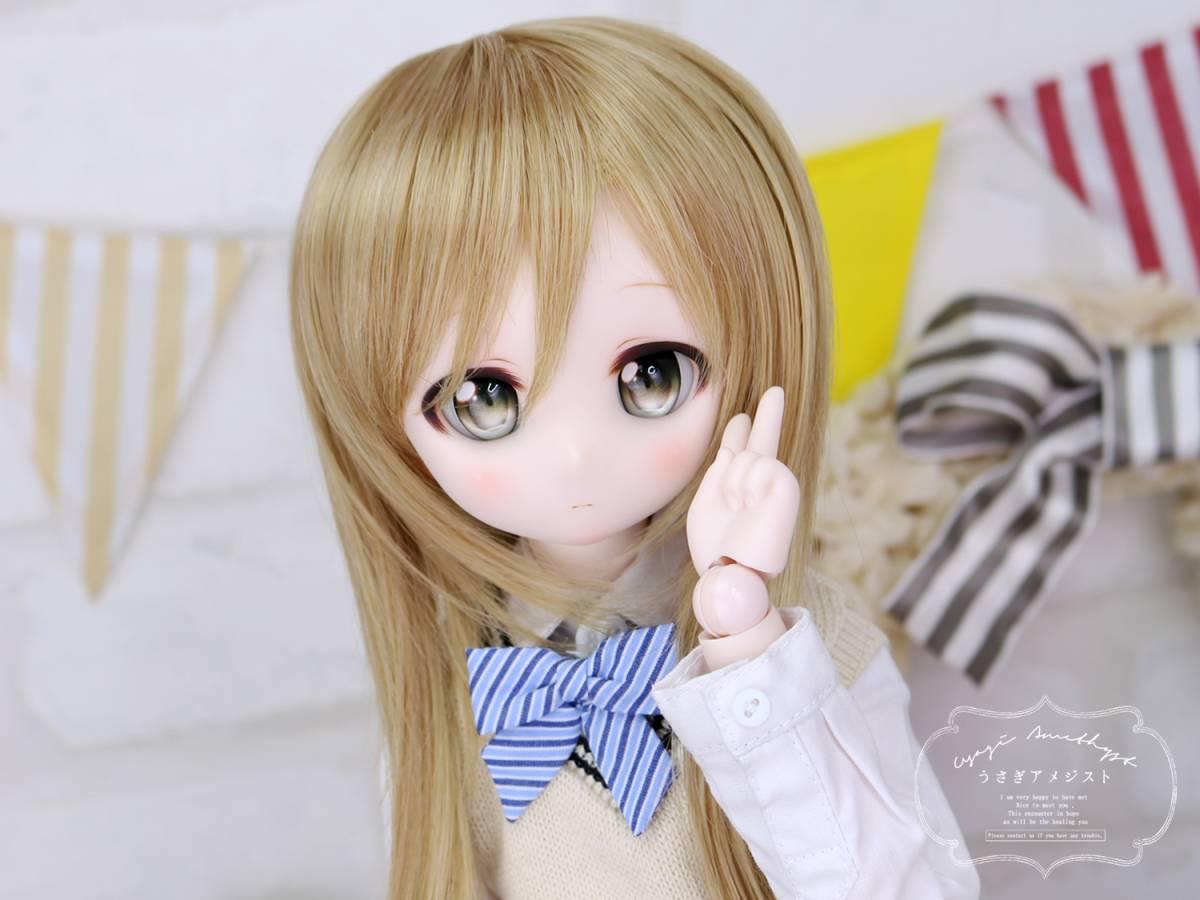 """うさアメ/DDH-01 セミホワイト肌 カスタムヘッド """"くるみ""""+アイ2種類セット"""