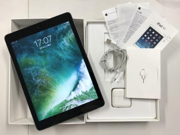 【中古品】Apple iPad Air Wi-Fi 16GB A1475 MD791J/A Soft Bank スペースグレー 箱有 電源アダプタ LightningUSBケーブル アイパッド 005