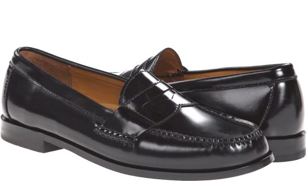 a4fc1239ab8 Cole Haan 24cmpe knee Loafer leather leather black black business fur maru  coin slip-on