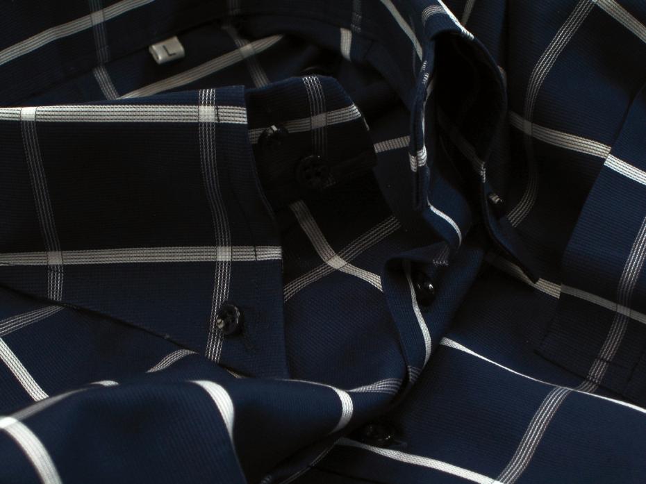 ★イタリアシャツ ドゥエボットーニ DANROMA SPORTIVO ESCLUSIVE 最高傑作!ネイビーに大胆白チェック L 42-93_画像5