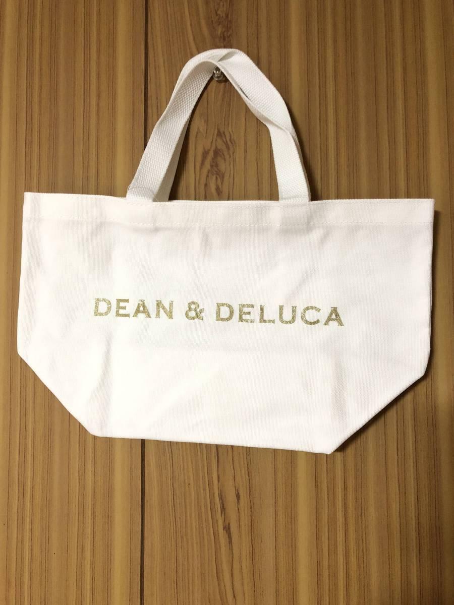 Dean&Deluca ディーン&デルーカ トートバッグ エコバッグ バッグ ホワイト ゴールド Sサイズ_画像1