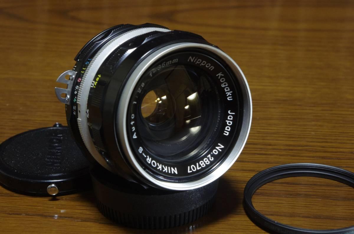 抜群の解像力!極美品 Ai改 ニッコール-S オート 35㎜ f2.8 NIKKOR-S Auto 1:2.8 35mm  純正キャップ付