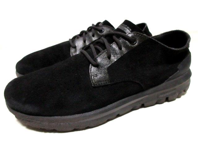 スケッチャーズskechersスウェード本革レザー革靴シューズ27.5cmブラック黒ローカットLowスニーカーUSA9.5ショートブーツ古着メンズ1円USED