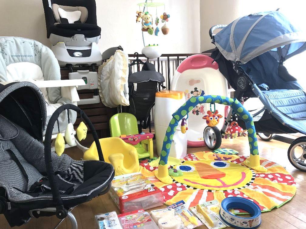 出産準備セット 売り切り お洗濯済 新生児対応 回転式チャイルドシート 3輪 ベビーカー ベビージョガー ハイローチェア ベビーベッド