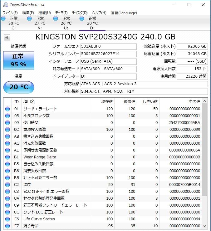 SSD KINGSTON240GB crucial64GB ADATA120GB 3台セット
