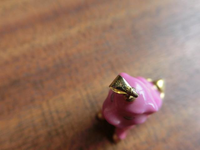 送料無料 ヘレンド HEREND ピンク&金 ピンク狛犬 ネックレス ペンダント トップ 中古 アンティーク_画像10