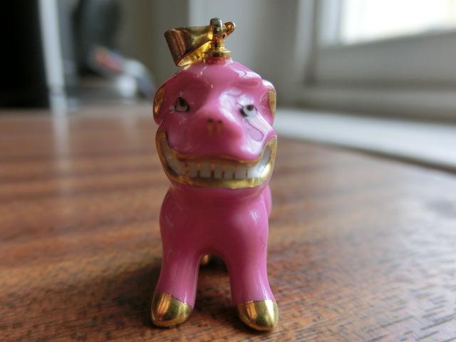 送料無料 ヘレンド HEREND ピンク&金 ピンク狛犬 ネックレス ペンダント トップ 中古 アンティーク_画像9