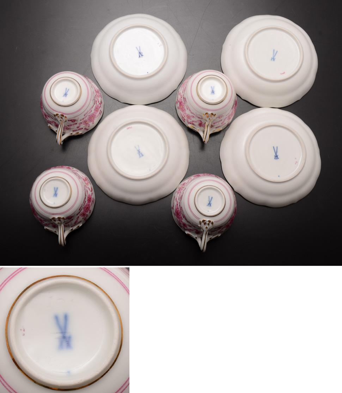 マイセン!!インドの華,上級装飾リッチピンク,モカカップ&ソーサー4組セット!!_画像6