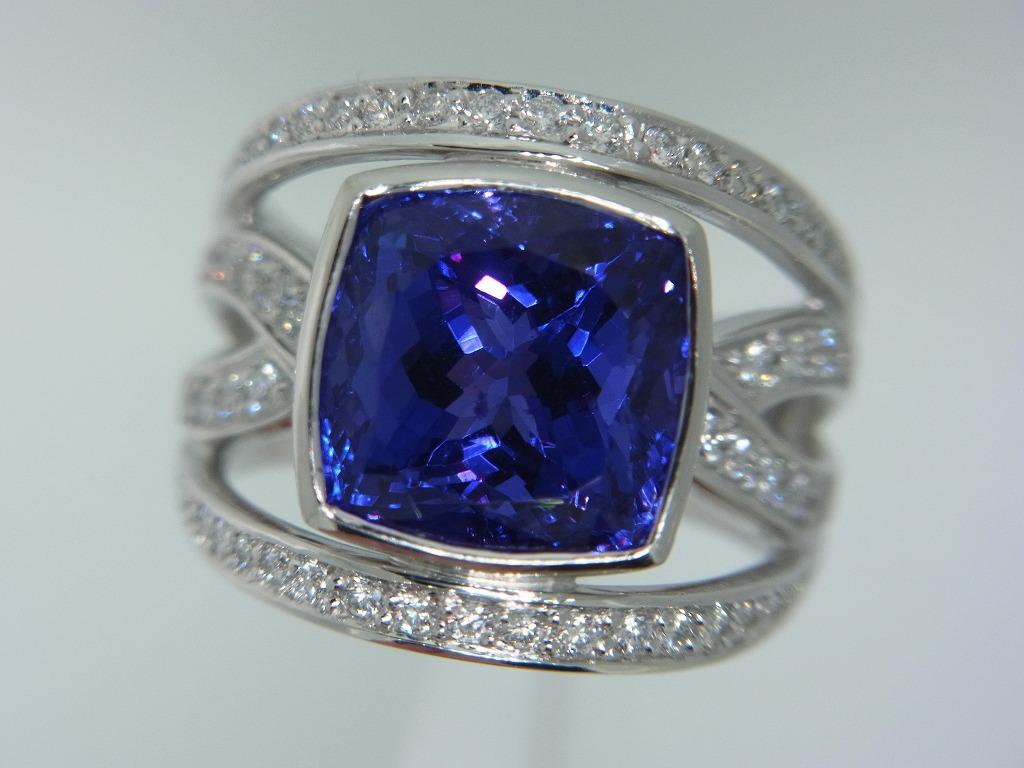 新品 タンザナイト 9.71ct ゾイサイト ダイヤモンド 0.84ct 最高級 Pt900 リング 指輪 サイズ17号 重量:24.2g ダイヤ 中央宝石ソーティング_画像4