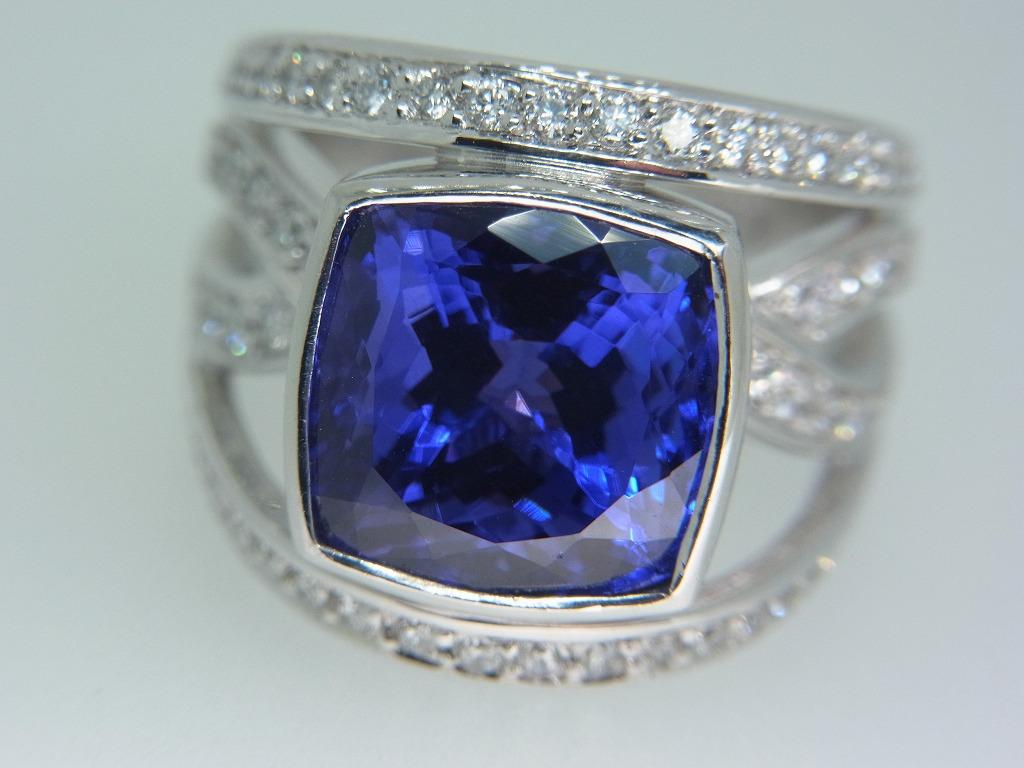 新品 タンザナイト 9.71ct ゾイサイト ダイヤモンド 0.84ct 最高級 Pt900 リング 指輪 サイズ17号 重量:24.2g ダイヤ 中央宝石ソーティング_画像3