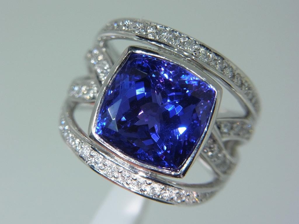 新品 タンザナイト 9.71ct ゾイサイト ダイヤモンド 0.84ct 最高級 Pt900 リング 指輪 サイズ17号 重量:24.2g ダイヤ 中央宝石ソーティング_画像5