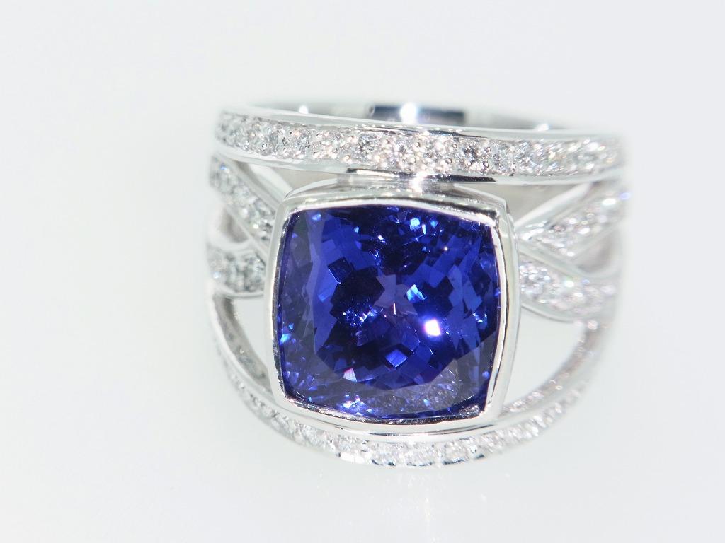 新品 タンザナイト 9.71ct ゾイサイト ダイヤモンド 0.84ct 最高級 Pt900 リング 指輪 サイズ17号 重量:24.2g ダイヤ 中央宝石ソーティング_画像9