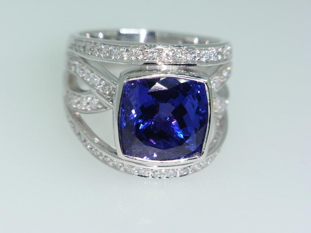 新品 タンザナイト 9.71ct ゾイサイト ダイヤモンド 0.84ct 最高級 Pt900 リング 指輪 サイズ17号 重量:24.2g ダイヤ 中央宝石ソーティング_画像8
