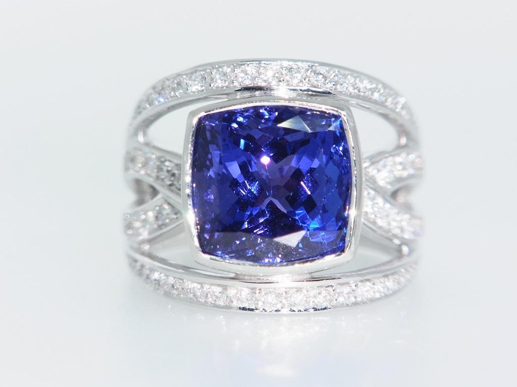 新品 タンザナイト 9.71ct ゾイサイト ダイヤモンド 0.84ct 最高級 Pt900 リング 指輪 サイズ17号 重量:24.2g ダイヤ 中央宝石ソーティング_画像1