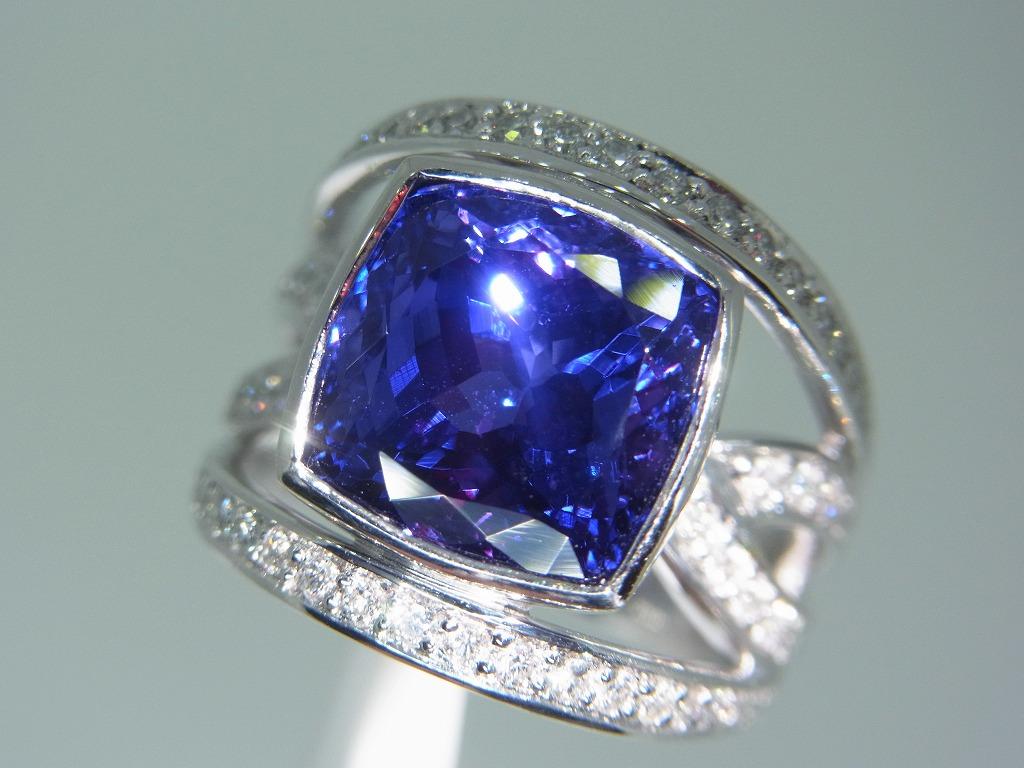 新品 タンザナイト 9.71ct ゾイサイト ダイヤモンド 0.84ct 最高級 Pt900 リング 指輪 サイズ17号 重量:24.2g ダイヤ 中央宝石ソーティング_画像6