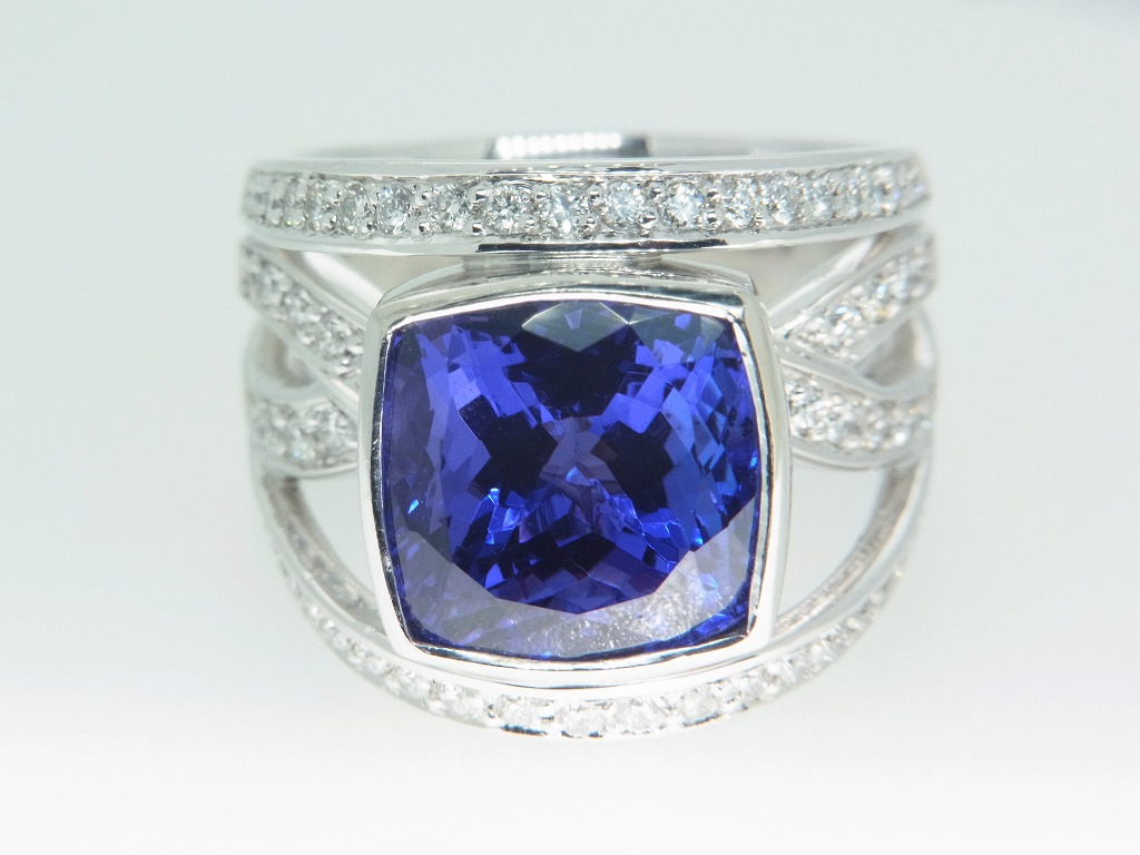 新品 タンザナイト 9.71ct ゾイサイト ダイヤモンド 0.84ct 最高級 Pt900 リング 指輪 サイズ17号 重量:24.2g ダイヤ 中央宝石ソーティング_画像7