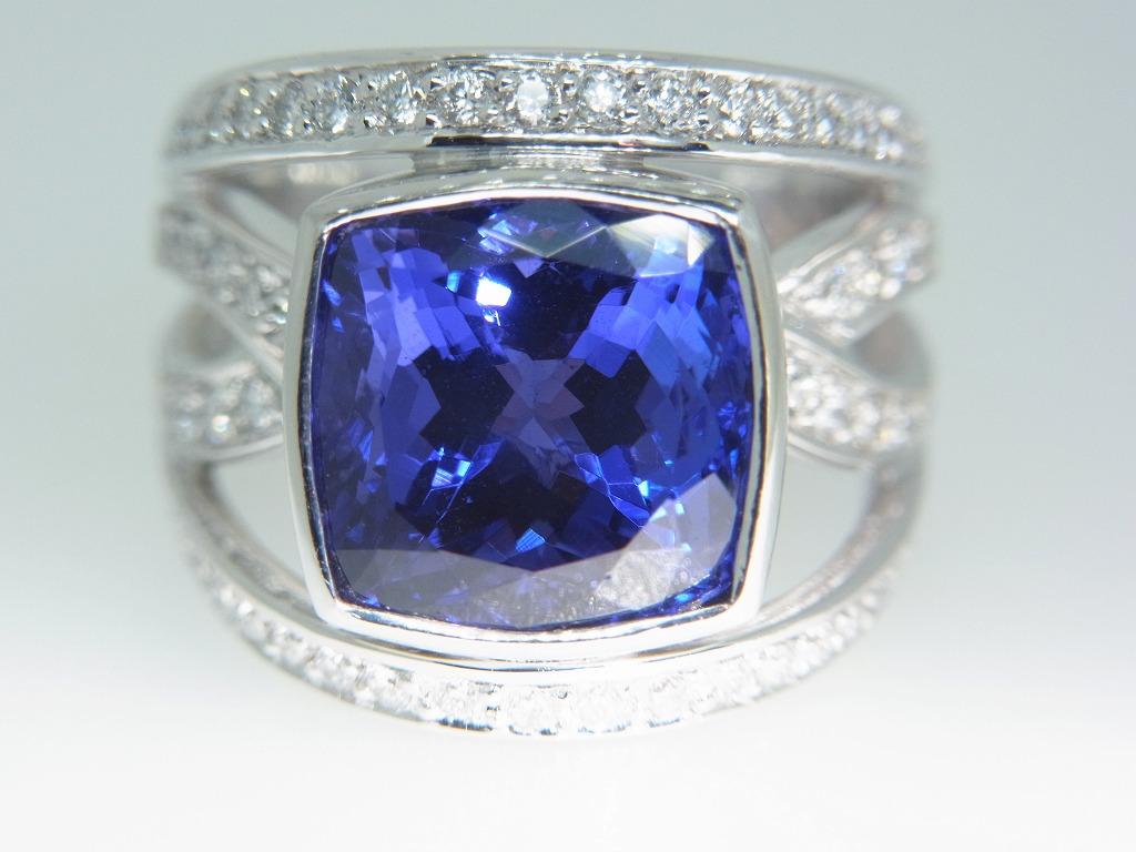 新品 タンザナイト 9.71ct ゾイサイト ダイヤモンド 0.84ct 最高級 Pt900 リング 指輪 サイズ17号 重量:24.2g ダイヤ 中央宝石ソーティング_画像10