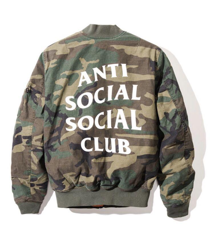 オンライン購入 正規品 ANTI SOCIAL SOCIAL CLUB SR22 Jacket MA-1 CAMO カモ サイズS ASSC ALPHA INDUSTRIES (サイズ大きめML相当)