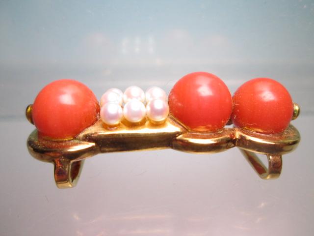 【江月】K18 本珊瑚玉 1cm&ベビーパールの美しい帯留め 12,26g_画像3
