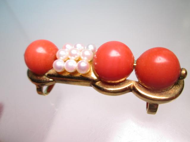 【江月】K18 本珊瑚玉 1cm&ベビーパールの美しい帯留め 12,26g_画像4