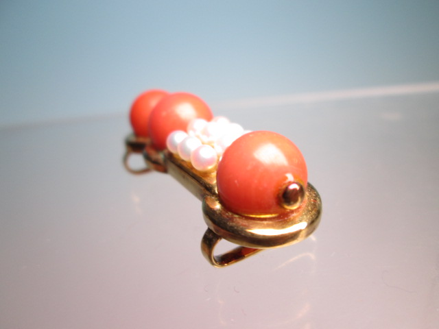 【江月】K18 本珊瑚玉 1cm&ベビーパールの美しい帯留め 12,26g_画像6
