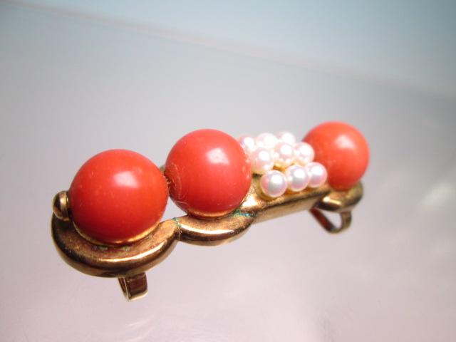 【江月】K18 本珊瑚玉 1cm&ベビーパールの美しい帯留め 12,26g_画像7