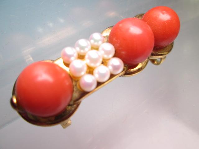 【江月】K18 本珊瑚玉 1cm&ベビーパールの美しい帯留め 12,26g_画像2